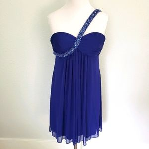 Cache Single Strap Blue Beaded Cocktail Dress 4